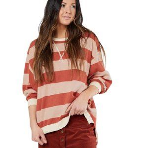Free People Surfin' On Your Stripes Sweater Pink
